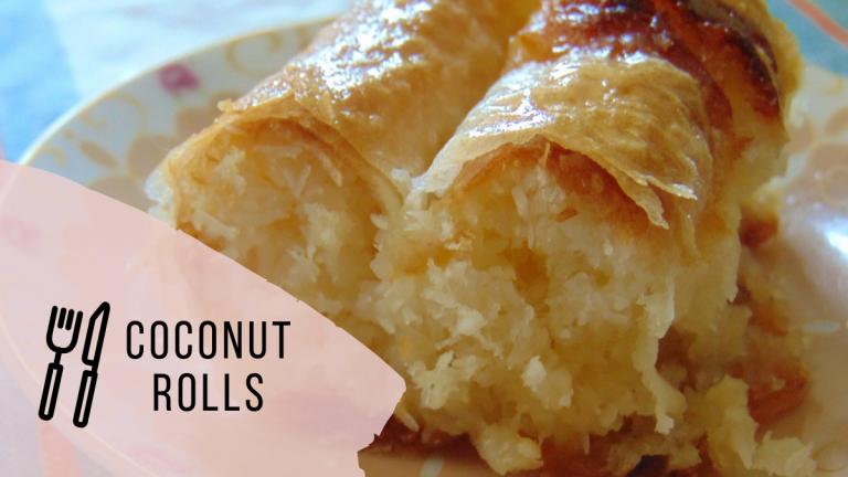 Coconut phyllo rolls (coconut baklava rolls)
